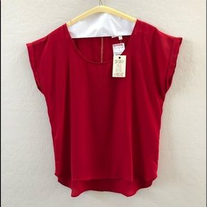 Red Blouse with gold zipper detail on back